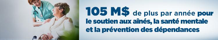 105 millions de dollars de plus par année pour le soutien aux aînés, la santé mentale et la prévention des dépendances